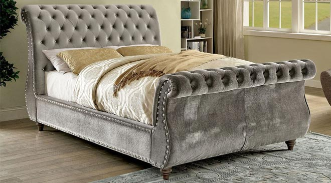 elegant tufted sleigh beds