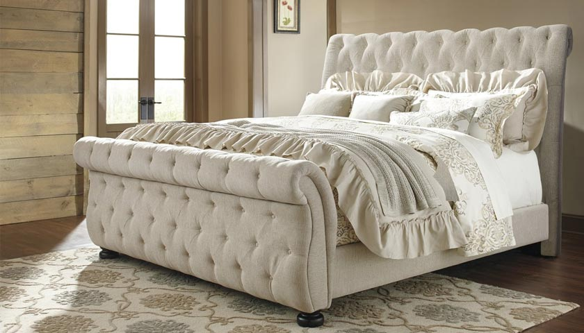 upholstered sleigh bed by Joss & Main